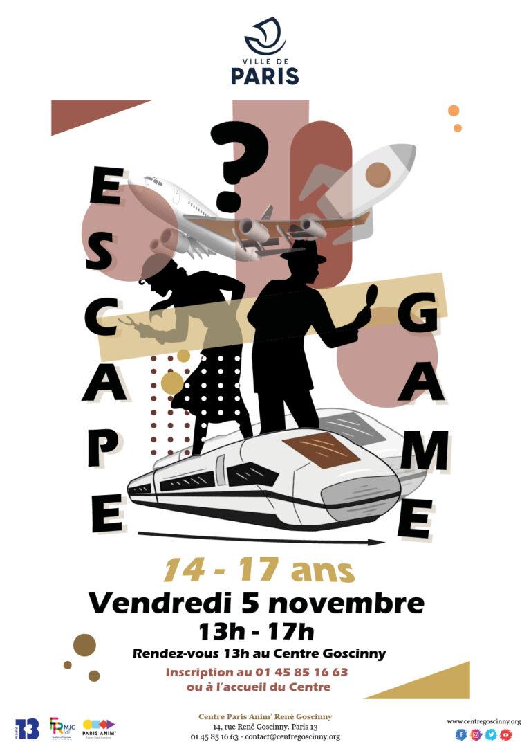 Affiche ESCAPE GAME 5 nov 2021_ville de Paris